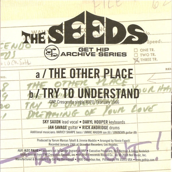 """7"""". The Seeds : The Other Place ' Try To Understand.   Ltd Edition."""