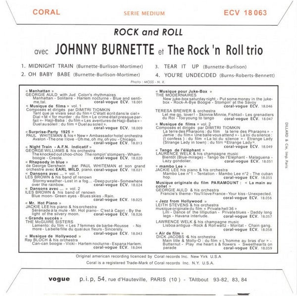 """7"""" EP. Johnny Burnette Trio : Rock n Roll.  Limited edition Re-issue"""