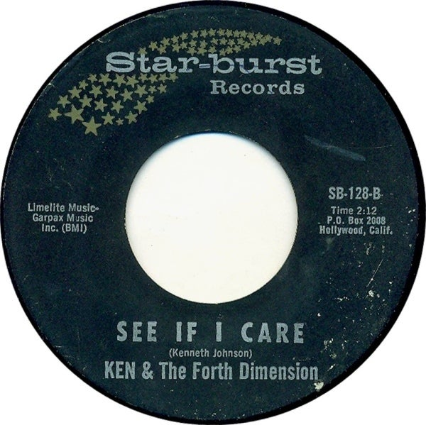 """7"""" Ken & The Fourth Dimension : See If I care / Rovin Heart."""