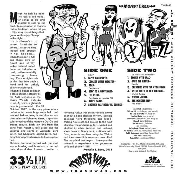 OUT NOW LP. Mondo X : Thee Sensational Spooktastic RnR Monster Show.  Ltd Edition.