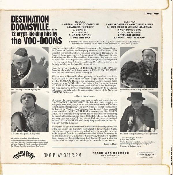 SALE PRICE. LP The Voo-Dooms : Destination Doomsville.  Ltd Edition Colour Splatter.