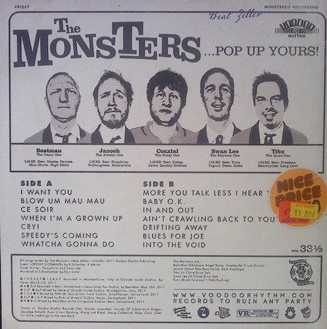 LP & CD The Monsters : Pop Up Yours.   The 6th album.
